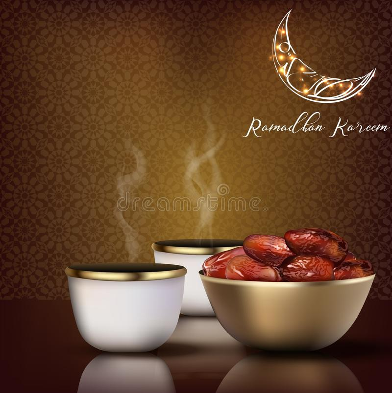 Ramadhan Kareem. Iftar party celebration with traditional coffee cup and bowl of dates. Illustration of Ramadhan Kareem. Iftar party celebration with traditional vector illustration