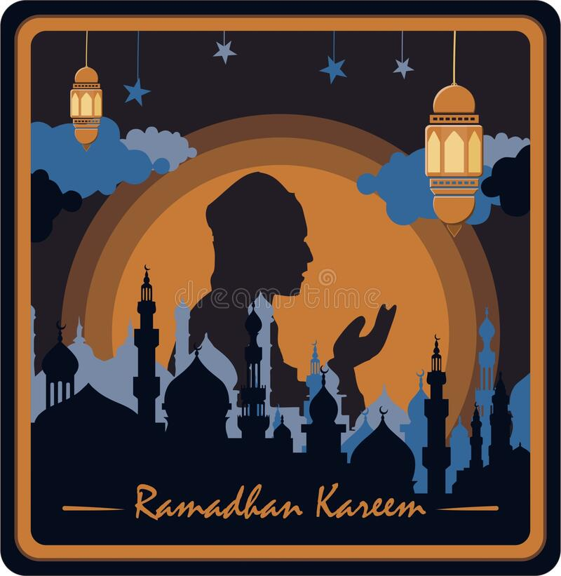 Ramadhan kareem with paper cut style royalty free stock photo