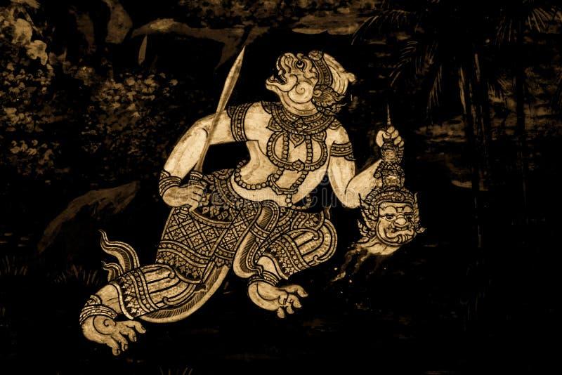 Ramakian Ramayana malowidła ściennego obrazy wzdłuż galerii świątynia Szmaragdowy Buddha, uroczysty pałac lub wata phra kaew zaka fotografia stock