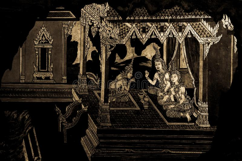 Ramakian Ramayana malowidła ściennego obrazy wzdłuż galerii świątynia Szmaragdowy Buddha, uroczysty pałac lub wata phra kaew zaka zdjęcie stock