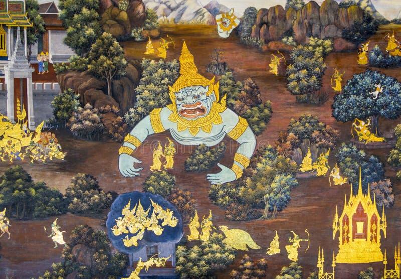 Ramakien malowidło ścienne Bangkok obraz royalty free