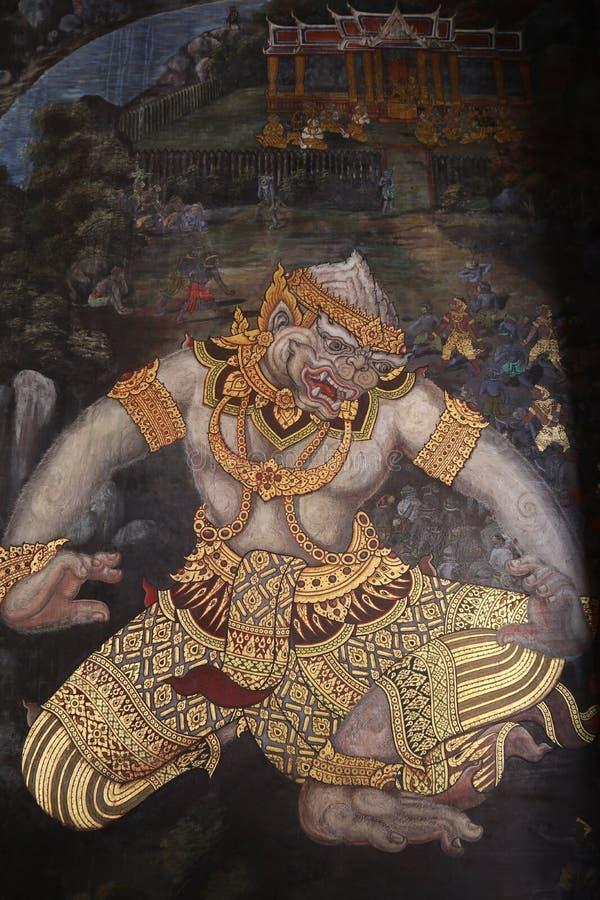 Ramakien Ramayana de v?gg- m?lningarna l?ngs gallerierna av templet av Emerald Buddha, den storslagna slotten eller watphrakaewen arkivbilder