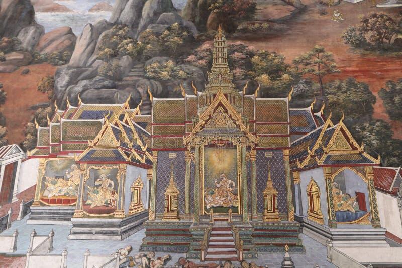 Ramakien Ramayana malowid?a ?ciennego obrazy wzd?u? galerii ?wi?tynia Szmaragdowy Buddha, uroczysty pa?ac lub wata phra kaew, obrazy royalty free