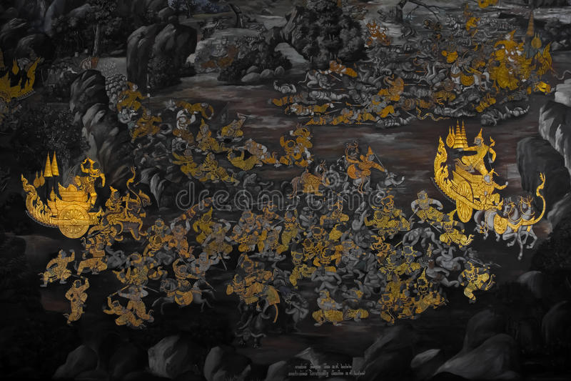 Ramakienmuurschildering stock fotografie