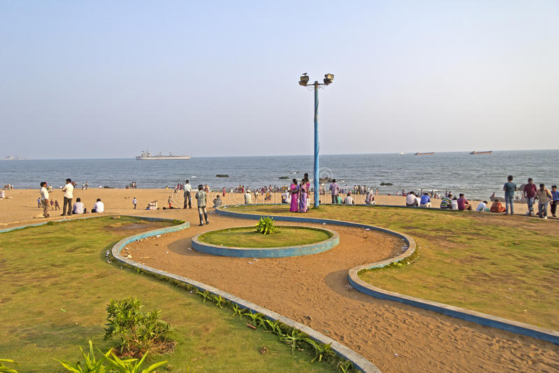 Ramakrishna海滩在Vishakhapatnam 免版税库存照片
