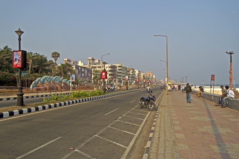Ramakrishna海滩路在Vishakhapatnam 免版税库存图片