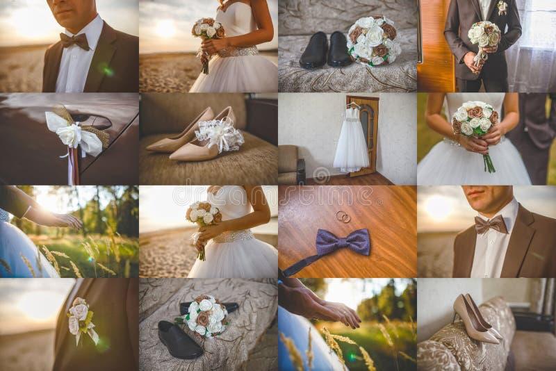 Ramalhete ajustado das decorações do jogo da coleção do casamento e fotografia de stock