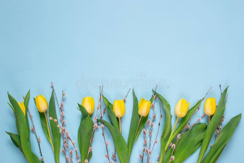 Ramalhete amarelo da tulipa, fundo azul, tempo de mola Conceito do dia da Páscoa foto de stock royalty free