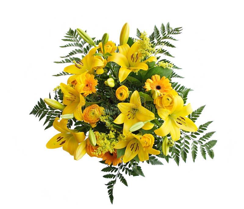 Ramalhete amarelo dos lírios imagens de stock royalty free