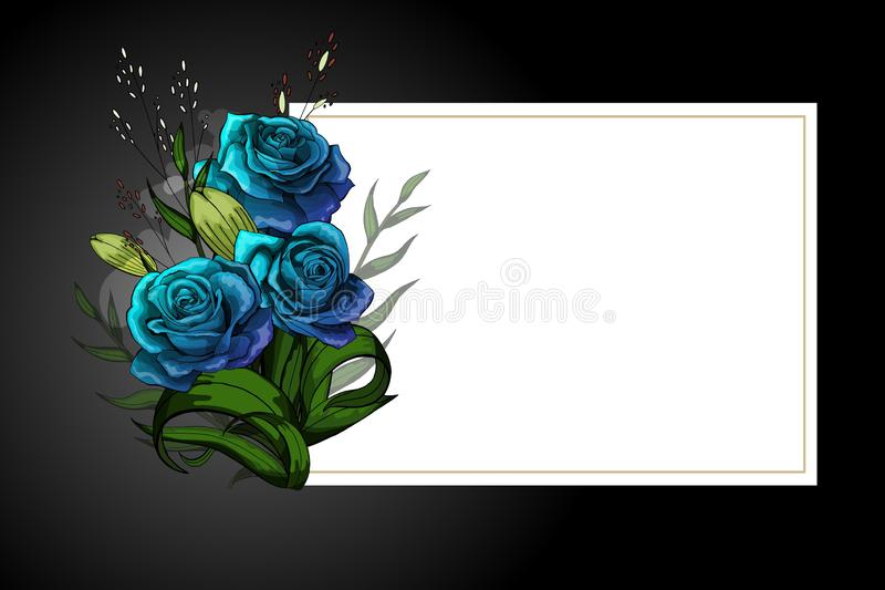 Ramalhete azul da flor no quadro branco com molde restrito do cartão da beira preta ilustração do vetor