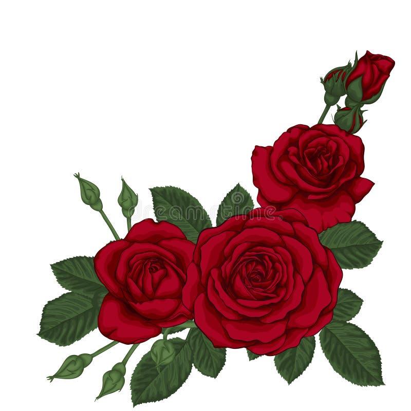 Ramalhete Bonito Com As Tres Rosas Vermelhas E Folhas Arranjo