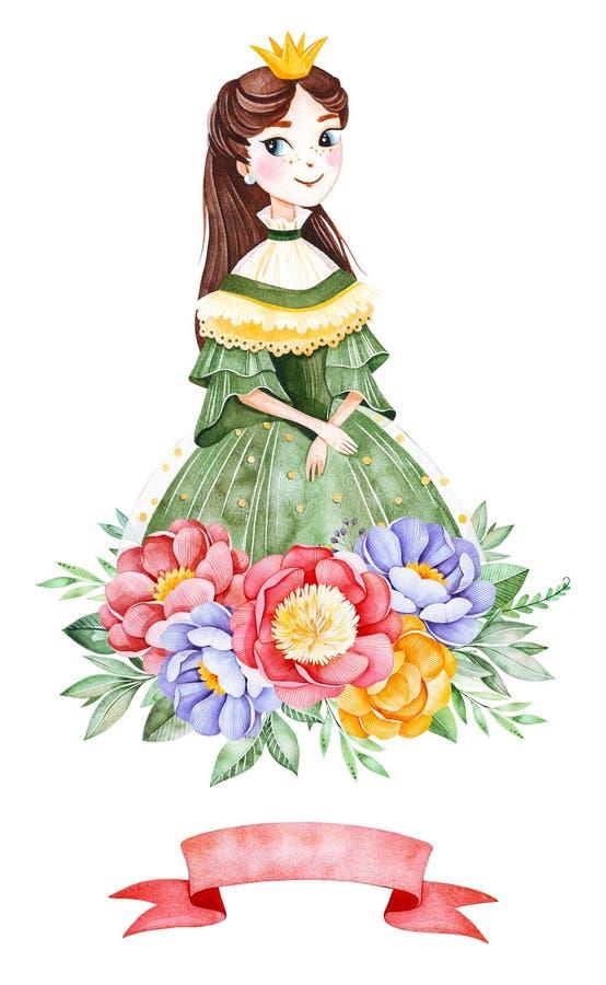 Ramalhete bonito com peônias, folhas, flor, ramos, fita e a princesa bonita ilustração do vetor