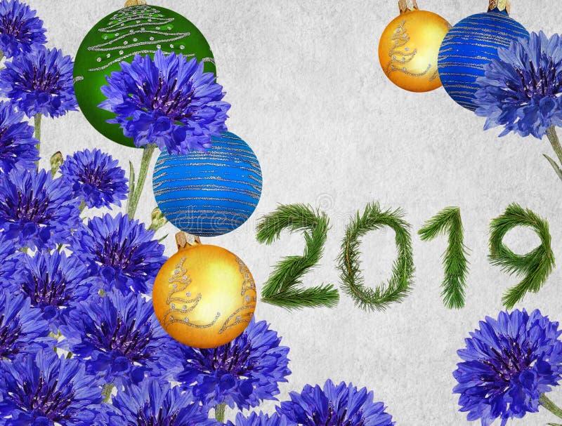 Ramalhete bonito das quinquilharias do feriado e das flores azuis do milagre ilustração royalty free