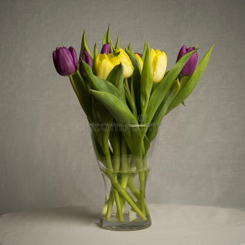 Download Ramalhete Bonito Das Tulipas No Fundo Cinzento Foto de Stock - Imagem de vaso, tulips: 107525950