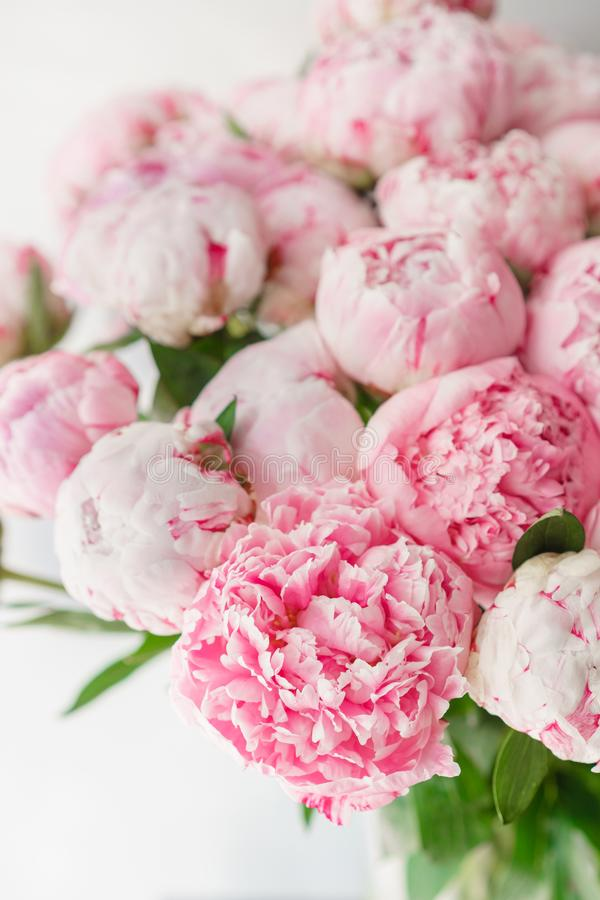 Ramalhete bonito de peônias cor-de-rosa Composição floral, luz do dia wallpaper Flores bonitas no vaso de vidro imagem de stock