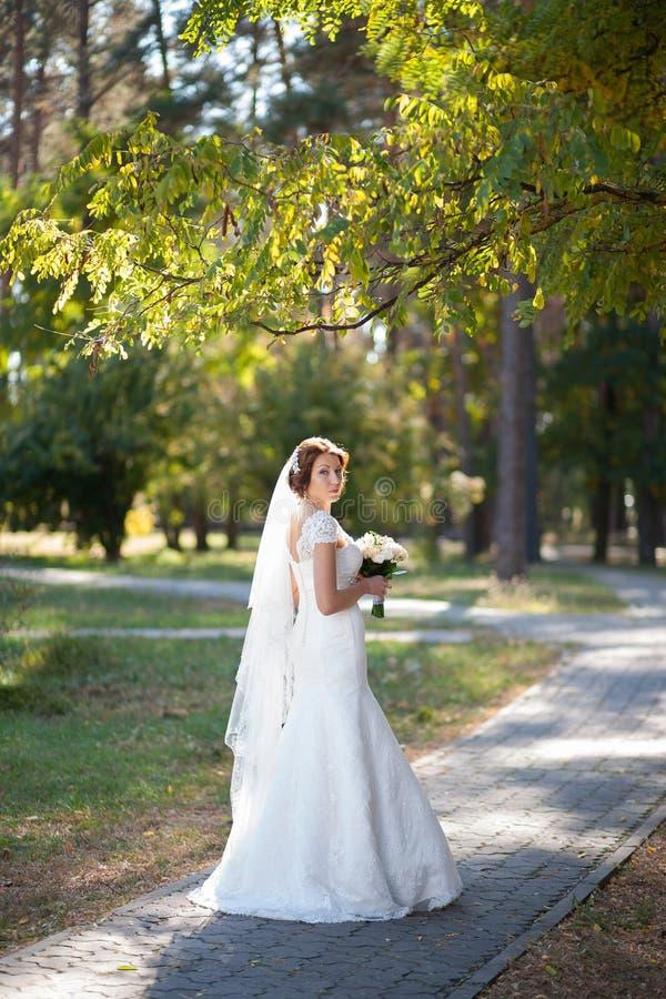 Ramalhete bonito do casamento das flores nas mãos da noiva nova imagens de stock royalty free