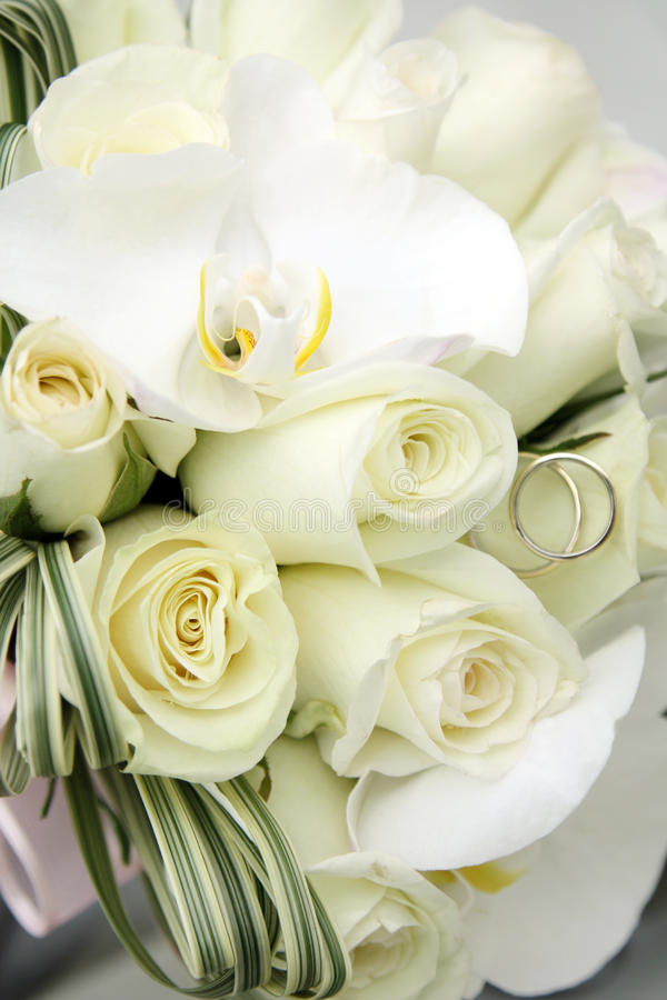 Ramalhete bonito do casamento das rosas e as orquídeas e as duas alianças de casamento do ouro e da platina imagem de stock royalty free