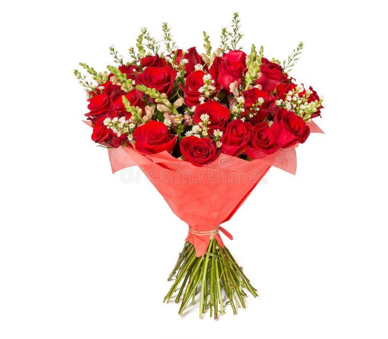 Ramalhete colorido da flor das rosas vermelhas no fundo branco foto de stock