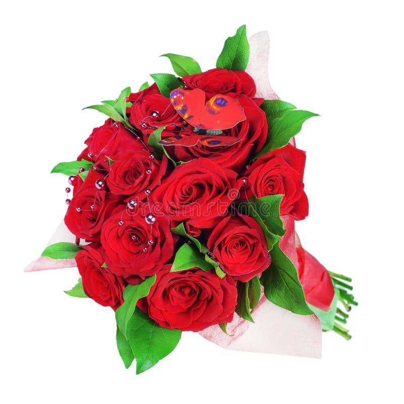 Ramalhete colorido da flor do das rosas vermelhas isolado no backg branco fotografia de stock royalty free