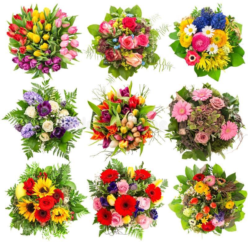 Ramalhete colorido de nove flores por feriados da Páscoa Objeto floral foto de stock royalty free