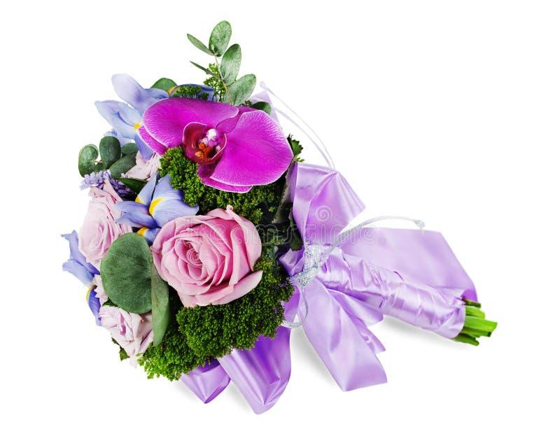 Ramalhete colorido do casamento da flor para a noiva das rosas, íris e fotos de stock royalty free