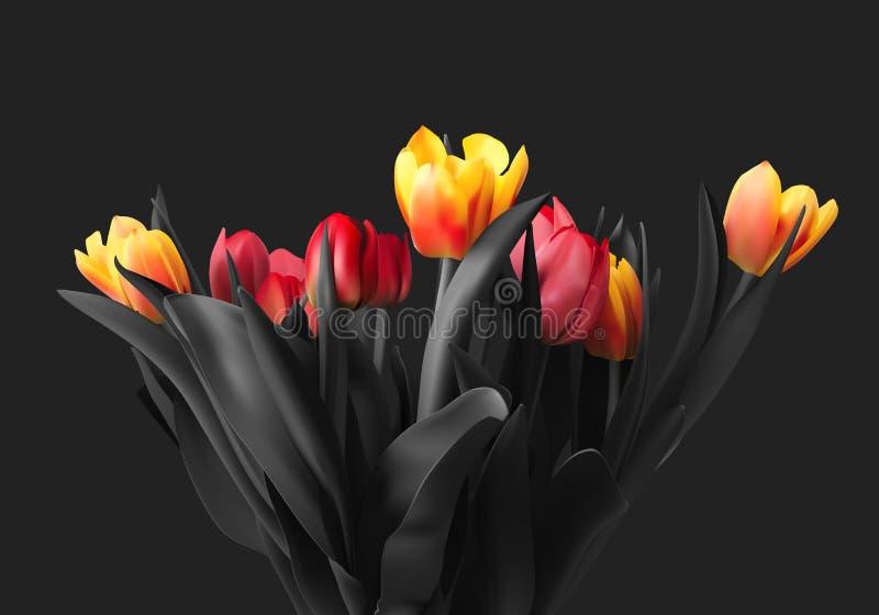 Ramalhete colorido do vetor das tulipas ilustração do vetor