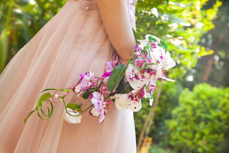 Ramalhete cor-de-rosa do casamento das orqu?deas fotos de stock royalty free