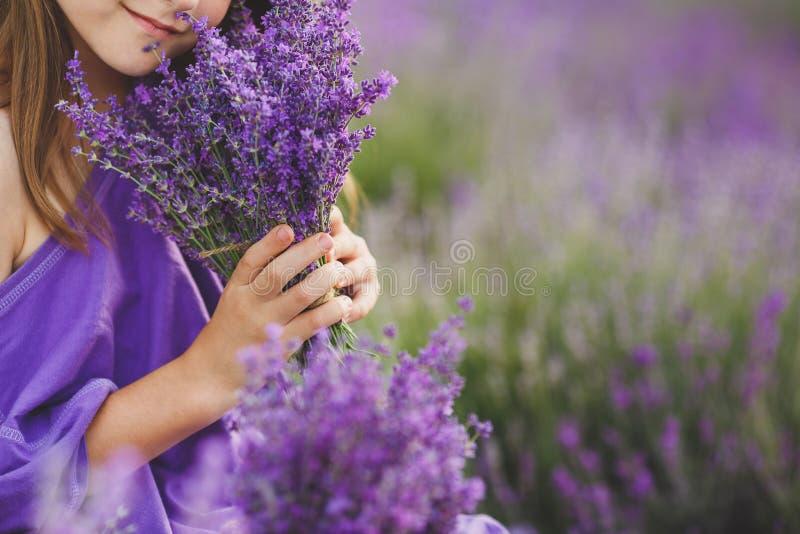 Ramalhete da alfazema nas mãos de uma menina fotos de stock