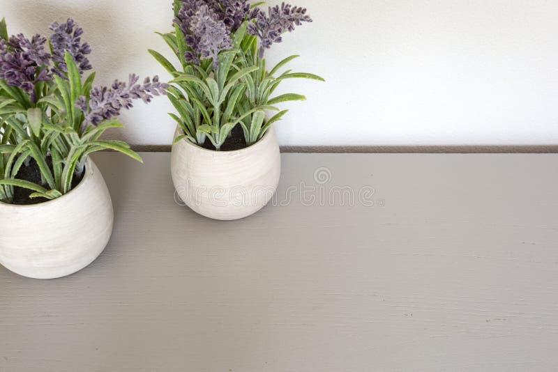 Ramalhete da alfazema seca no potenciômetro cerâmico com parede branca Copie o espa?o para o texto fotografia de stock