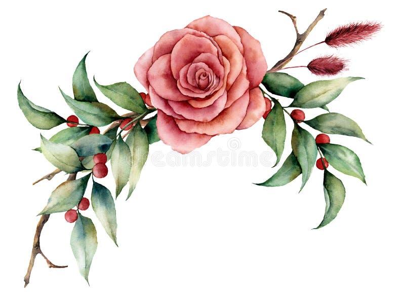 Ramalhete da aquarela com cor-de-rosa e as bagas Ilustração floral pintado à mão com flor cor-de-rosa, folhas, grama do lagurus e ilustração do vetor
