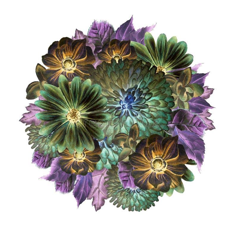 Ramalhete da aquarela com flores anemone Peônia Ilustração da aguarela ilustração do vetor