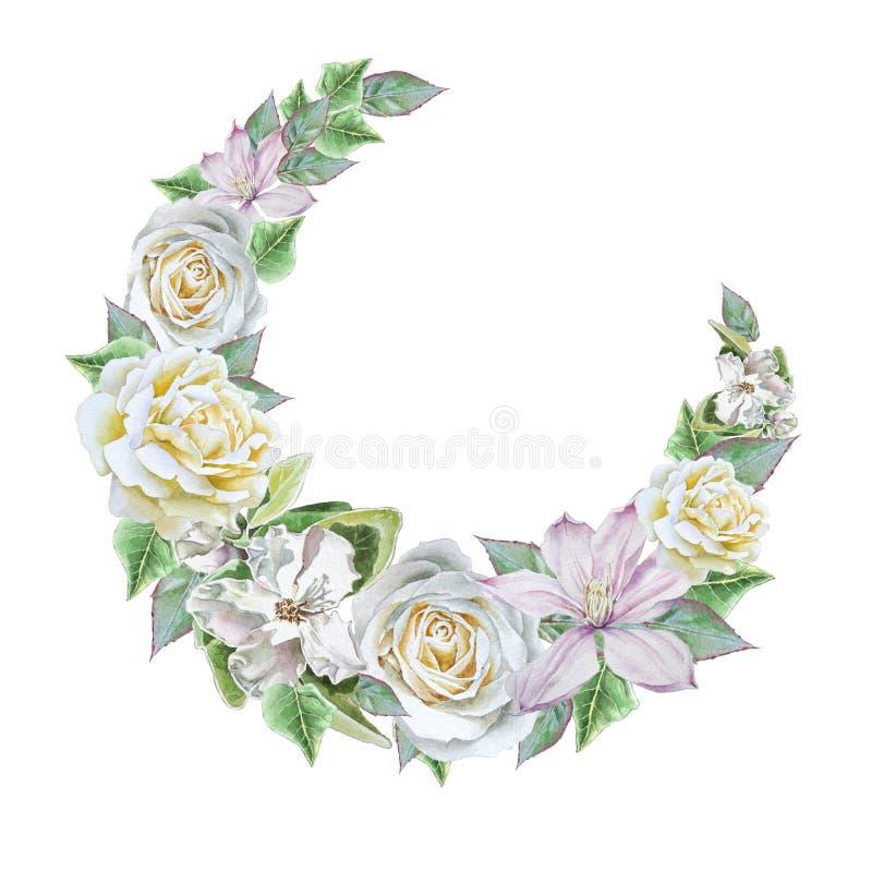 Ramalhete da aquarela com flores Rosa Clematis ilustração stock