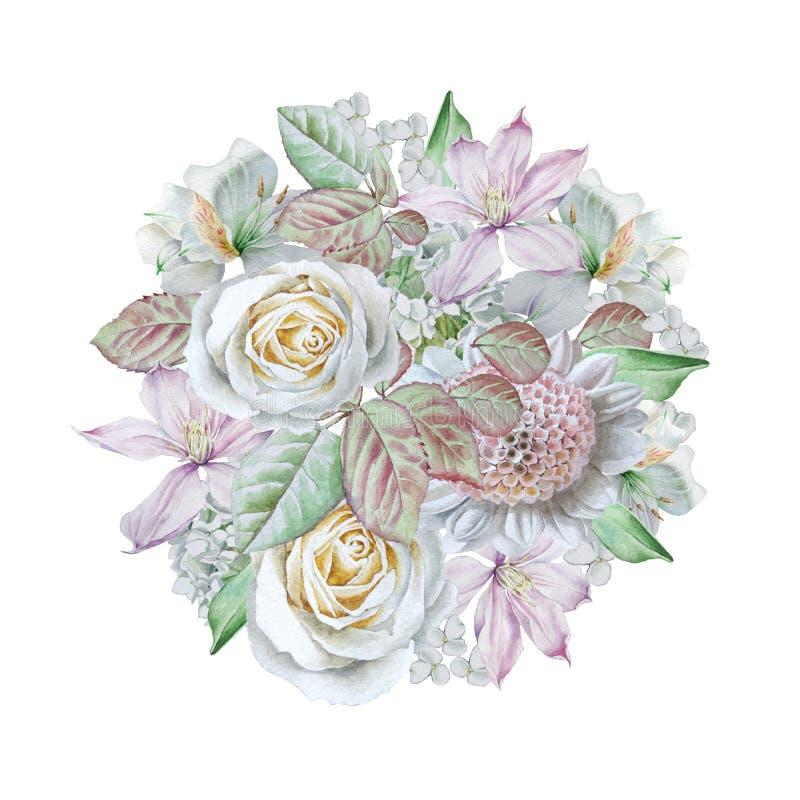 Ramalhete da aquarela com flores Rosa Clematis lilia ilustração royalty free