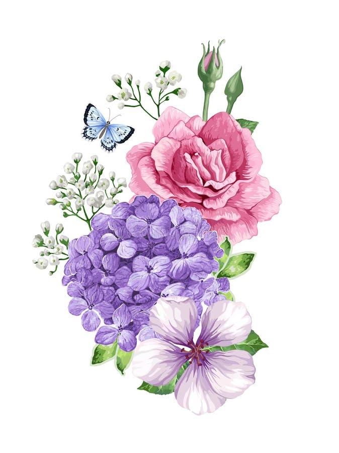 Ramalhete da flor da árvore de maçã, gypsophila no estilo da aquarela isolado no fundo branco Para cartões, cópias ilustração stock