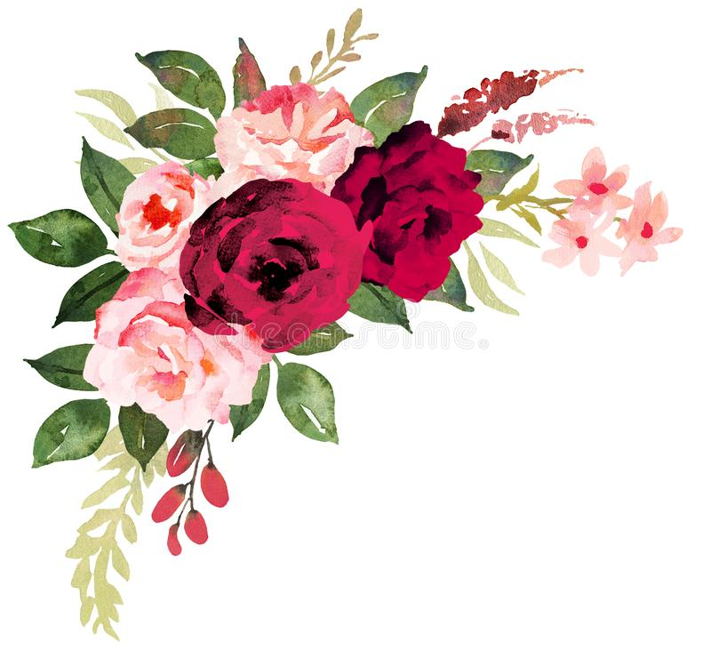 Ramalhete da flor com as rosas vermelhas e cor-de-rosa Aquarela pintado à mão