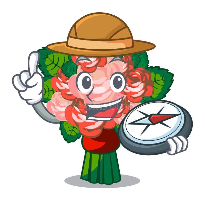 Ramalhete da flor do explorador no isolado com mascote ilustração stock