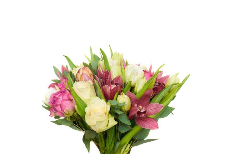 Ramalhete da mola das tulipas e das rosas fotos de stock