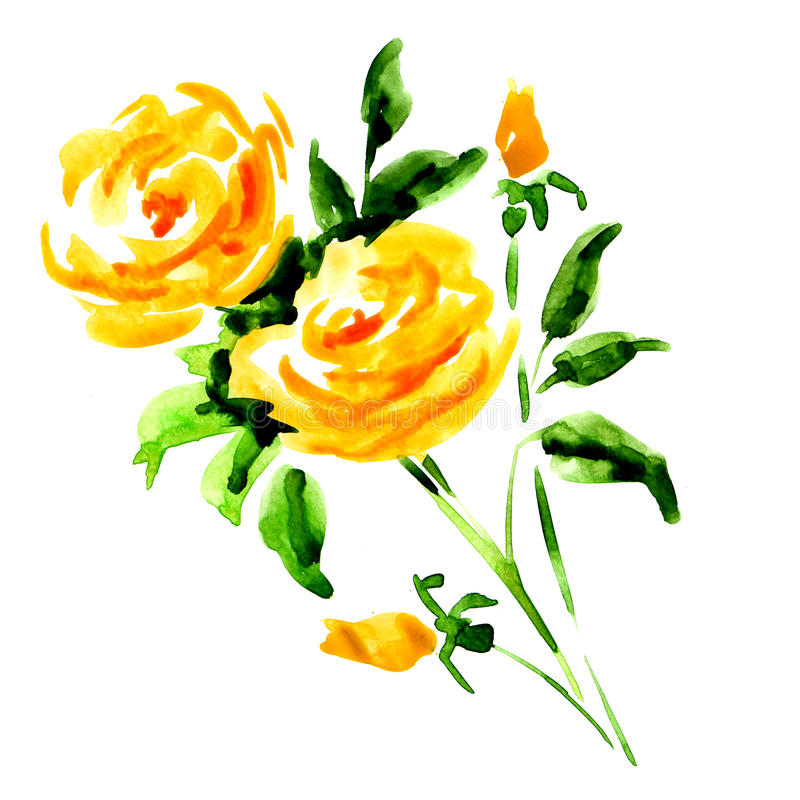 Ramalhete da rosa do amarelo isolado no branco ilustração stock