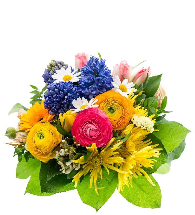 Ramalhete das flores coloridas da mola isoladas foto de stock