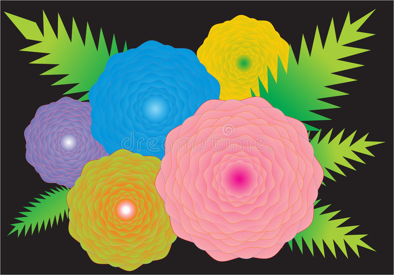 Ramalhete das flores em um fundo preto ilustração stock
