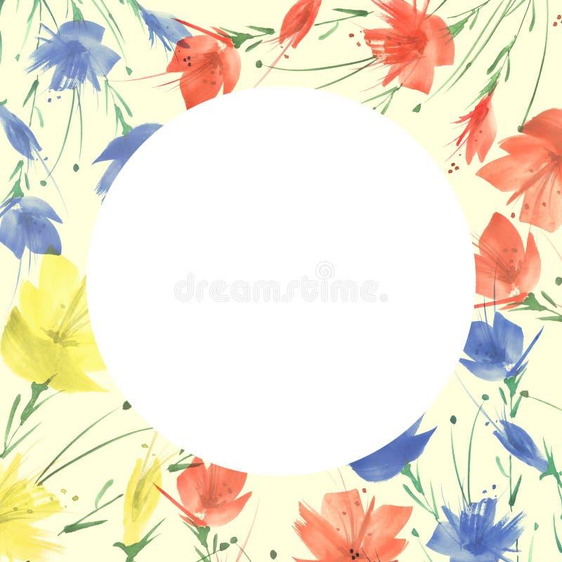 Ramalhete das flores, fundo floral da aquarela Ramalhete floral vermelho brilhante Respingo abstrato bonito da pintura imagens de stock