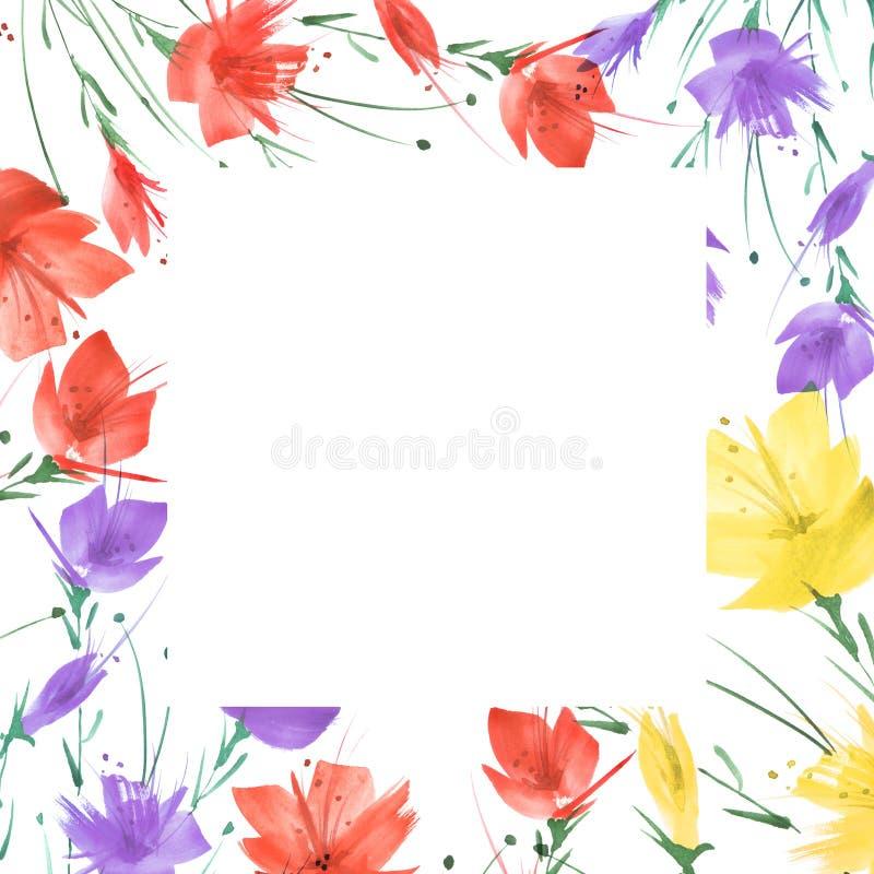 Ramalhete das flores, fundo floral da aquarela Ramalhete floral vermelho brilhante Respingo abstrato bonito da pintura imagem de stock