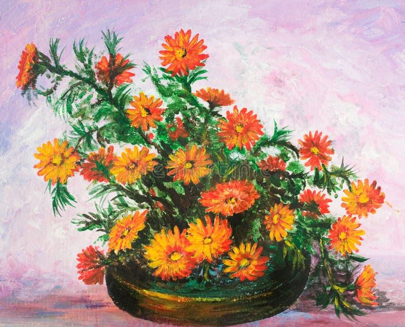 Ramalhete das flores no vaso ilustração royalty free