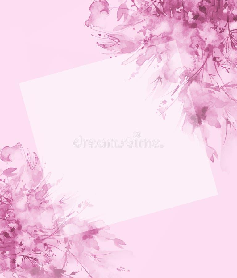 Ramalhete das flores, respingo abstrato bonito da aquarela da pintura, ilustra??o da forma Flores da orqu?dea, papoila, cent?urea ilustração stock