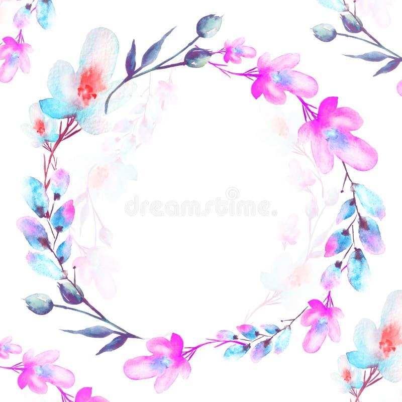 Ramalhete das flores, respingo abstrato bonito da aquarela da pintura, salgueiro, papoila, camomila ilustração royalty free