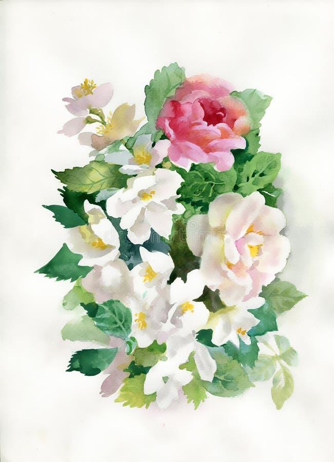 Ramalhete das rosas da aquarela ilustração royalty free
