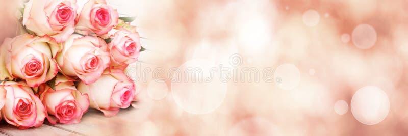 Ramalhete das rosas no fundo cor-de-rosa do bokeh foto de stock