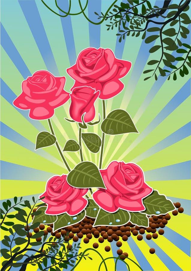 Ramalhete das rosas - rosas vermelhas ilustração do vetor