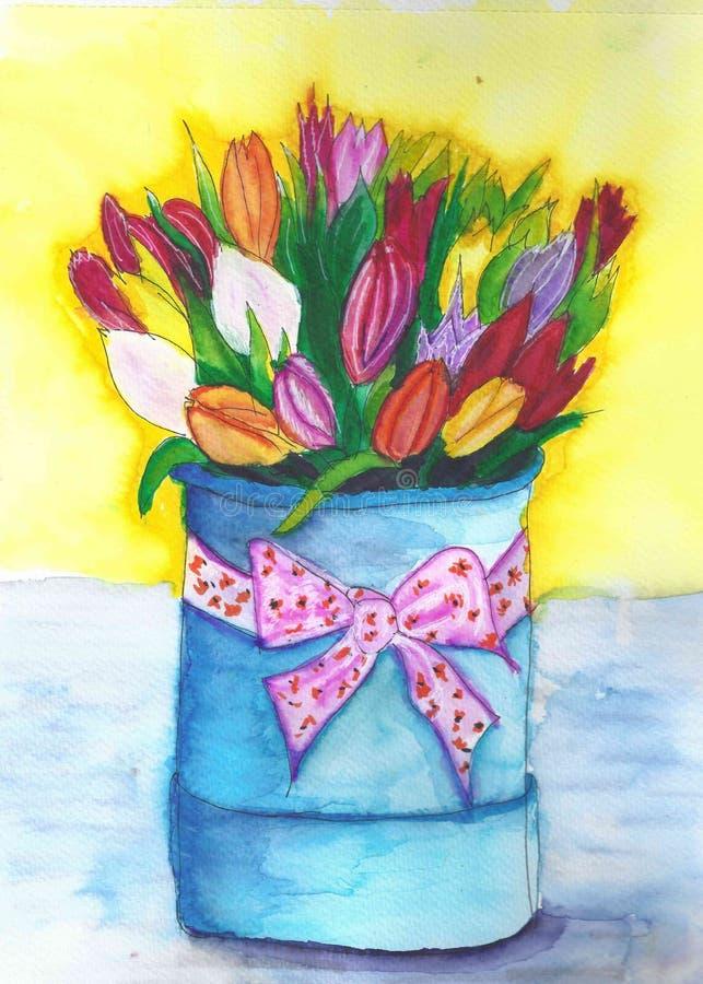 Ramalhete das tulipas Cesta azul com ramalhete ilustração do vetor