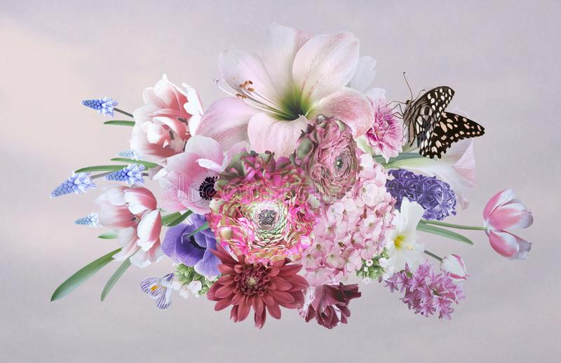 Ramalhete de flores bonitas do jardim poster ilustração stock